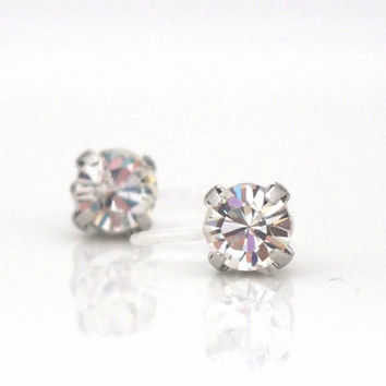 Special Offer! Popular in Japan ! 2 ways Invisible Clip On Earrings! Silver Swarovski Crystal Stud Clip on Earrings, Silver Clip-On Earrings