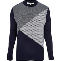 River Island MensNavy geometric color block knitted sweater