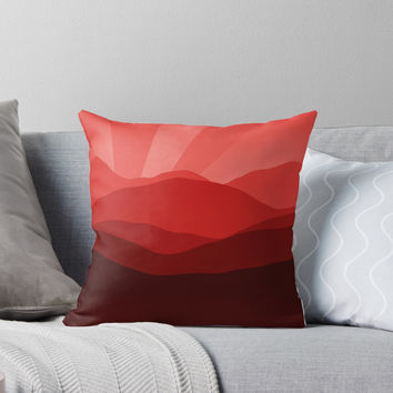'Red Solar Rays' Throw Pillow by Christy Leigh