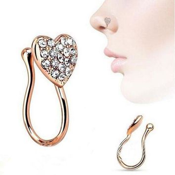 ac DCCKO2Q Women Fashion Glitter Rhinestone Heart Fake Non Piercing Clip-on Nose Ring Stud