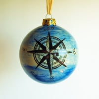 Ornament Nautical Theme Compass Rose Anchor Ceramic Christmas Holiday