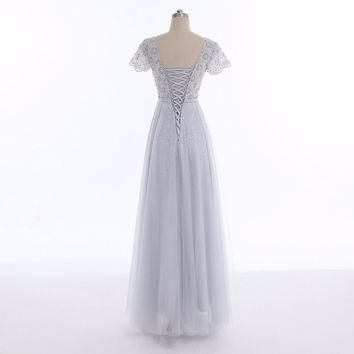 Evening Dresses Tulle Lace Long Formal Dresses Gowns Lace Up Cap Sleeves Robe