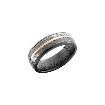 Black Zirconium and Damascus Steel Band Ring with 14K Rose Gold Center