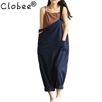 Clobee Navy Blue Sexy Overalls Women Large Size Jumpsuit Clothes Rompers Summer Autumn 2017 Cotton Linen Wide Leg Pants Y126