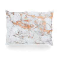 "KESS Original ""Rose Gold Flake"" White Pink Oblong Pillow"