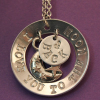 Handstamped - I love you to the moon and back necklace