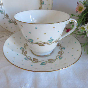 Royal Doulton vintage 1950's teacup set, Blue Polka dots, Blue and yellow, Afternoon tea, Doulton polka dots, Mid century teacup