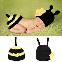 Newborn Photography Props Baby Bee Clothes Caps Costume Crochet Outfits Cotton Hat Animals Set for 0-12 Months Baby