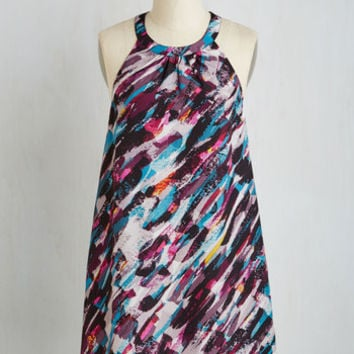 Mid-length Sleeveless Shift Bountiful Brushstrokes Dress