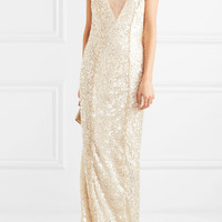Galvan - Hollywood paillette-embellished metallic tulle gown