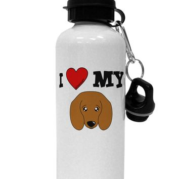 I Heart My - Cute Doxie Dachshund Dog Aluminum 600ml Water Bottle by TooLoud