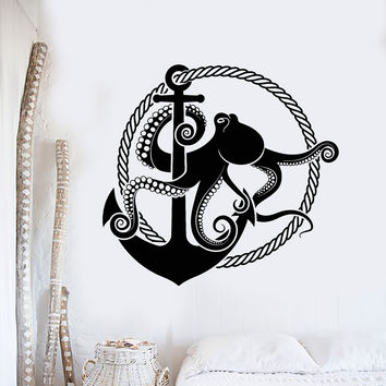 Vinyl Wall Decal Anchor Octopus Rope Nautical Style Marine Art Stickers Mural Unique Gift (ig4998)
