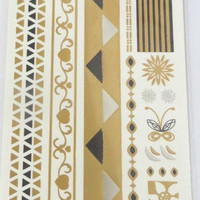 Temporary Metallic Jewelry Gold Silver Flash Tattoos - Variation 11