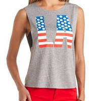 Daisy Americana LA Graphic Muscle Tee by Charlotte Russe - Gray
