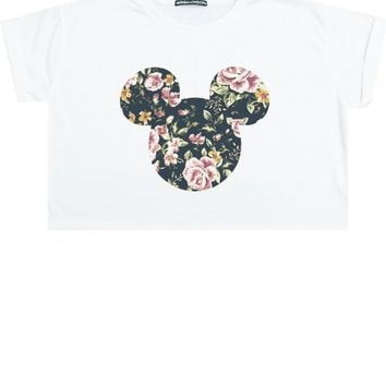 FLORAL EARS CROP TOP