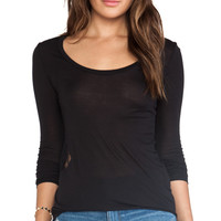 Blue Life Lace Insert Material Girl Top in Black