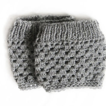 Marble Gray Boot Cuffs - Knitted Boot Cuffs - Legwarmers - Half Sock - Grey - Women - Teen Girls - Customize Your Order - Fall - Cuffs