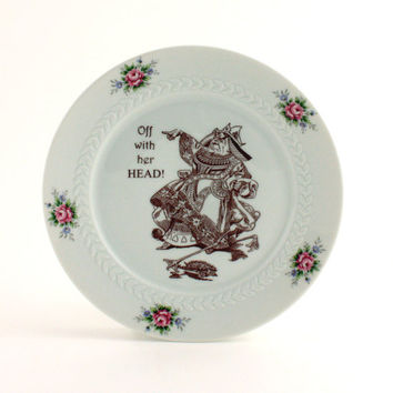 Recycled Alice in Wonderland Queen of Hearts on Vintage Porcelain Plate Home Decor White Flowers Carroll Whimsical
