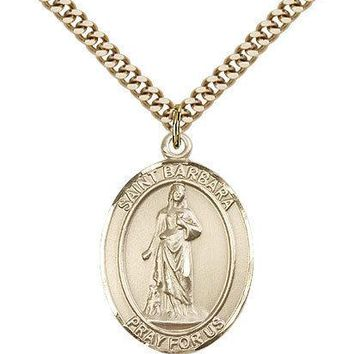 "Saint Barbara Medal For Men - Gold Filled Necklace On 24"" Chain - 30 Day Mone... 617759574548"