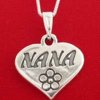 Sterling Silver NANA Necklace 925 Grandma Gran Granny Charm Pendant and Chain