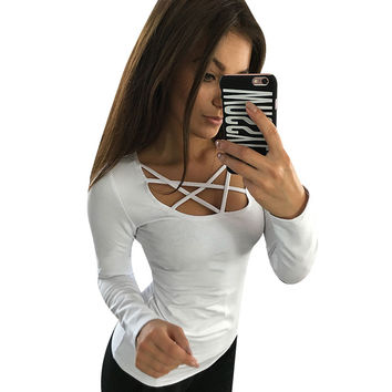 Women T shirt Long Sleeve Hollow Out Spaghetti Strap Slim Long Sleeve Tops Tees Bandage T Shirts Femme Blusas LJ4515E