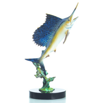 SPI Blue Water Sailfish Marble and Brass Sculpture
