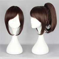 High Grade Quality Attack on Titan Sasha Blouse 35cm Medium Brown Ponytail Cosplay Wig Alternative Measures