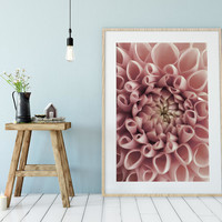 Blush Pink Flower, Dahlia Poster, Boho Wall Art, Digital Download, Floral Poster, Photography Poster, Blush Pink Dahlia, Instant Download