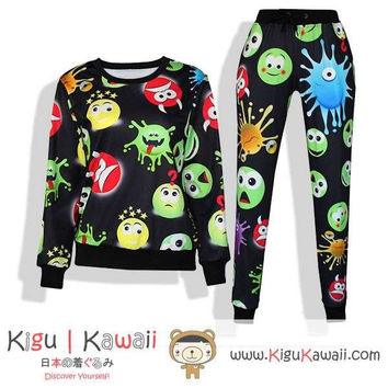 New Adorable Alien Faces Pattern Kawaii Style Round-Neck Sweater and Jogging Pants KK654