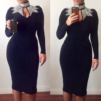 Black Turtleneck Cut Out Long Sleeve Bodycon Dress