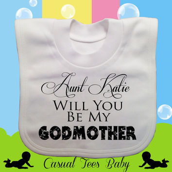Personalized Will You Be My Godmother Baby Bib, Baptism Bib, Godparents, Organic Cotton