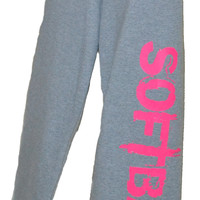 SOFTBALL Sweatpants in Gray with PInk Print