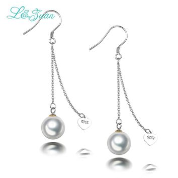 S925 Silver Round Seashell pearl Elegant and Graceful Drop Earring