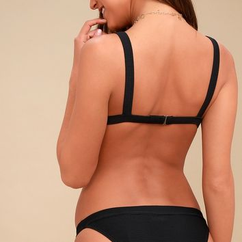 Tanlines Tropic Black Ribbed Bikini Bottom