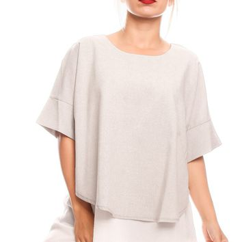 GREY ROUND NECKLINE TOP FLOW FABRIC SIDE CUTOUT LOOK CASUAL TOP