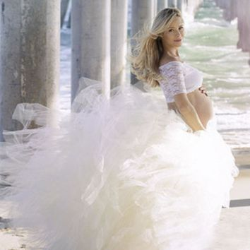 Full-Length Romantic Long Tutu For Maternity Photoshoot