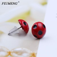 Miraculous Ladybug Stud Earrings Marinette Red Round Circle Animal Earrings for Women Girls Fashion Jewelry Cute Accessories