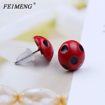57d54912a Miraculous Ladybug Stud Earrings Marinette Red Round Circle Anim