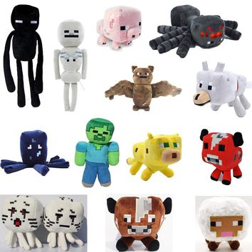 Minecraft Plush Toys 15 Styles 16-26cm Minecraft Creeper Enderman Wolf Steve Zombie Spider Sketelon Plush Stuffed Toys for Kids