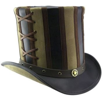 Steampunk Striped Stovepipe Top Hat. Belted Leather Steam Punk Tophat Unisex