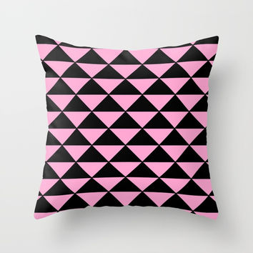 Graphic Geometric Pattern Minimal 2 Tone Infinity Triangles (Pastel Pink & Black) Throw Pillow by AEJ Design