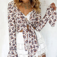 White Floral Print Bell Sleeve Self-Tie Top