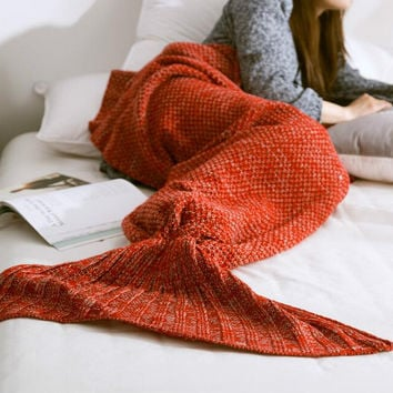 Keep Warm Knitted Sofa Bedding Mermaid Tail Blanket Home Christmas Gift