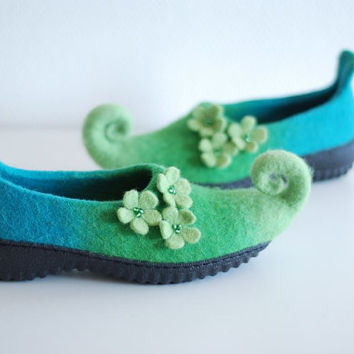 Fairy elf shoes felted from wool with flowers Custom colors with rubber soles