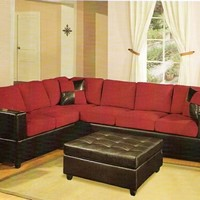 2 pc Red Microfiber two tone reversible sectional sofa with Free pillows