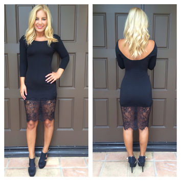 Lovely In Lace Little Black Midi Dress
