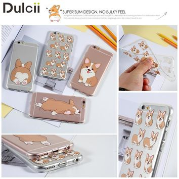 Dulcii for Apple iPhone 6s Funny Corgi Case Patterned Cute Dog Soft TPU Phone Case Shell for iPhone 6 / 6s - Corgi Back