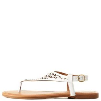 White Laser Cut-Out T-Strap Thong Sandals by Charlotte Russe