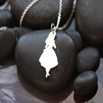 Alice in Wonderland silver necklace with Alice silhouette pendant