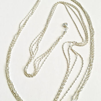 Gorgeous Milor Italian Sterling Silver 35.5 Inch Three Strand Diamond Cut Fine Rope Chain Necklace with Lobster Claw Clasp - 15 grams